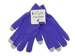 Ladies Neon Touchscreen Stretch Gloves - Grey/Purple