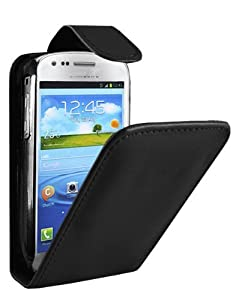 SAMSUNG GALAXY S3 MINI BLACK LEATHER FLIP CASE / COVER/ SKIN