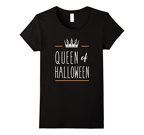 Women's Queen of Halloween Cute Funny Costume Pumpkin Tee XL Black (Funny Cute Women Halloween Costumes)