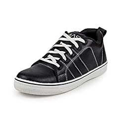 PAN Mens G38 BLACK Synthetic Leather Casual Shoe-10 UK