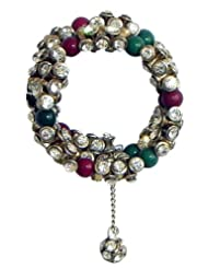 Green And Maroon Bead And White Stone Studded Spiral Bracelet - Beads And Stone