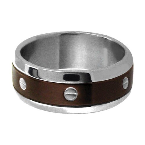 Size 10 - Inox Jewelry Cappuccino 316L Stainless Steel Ring