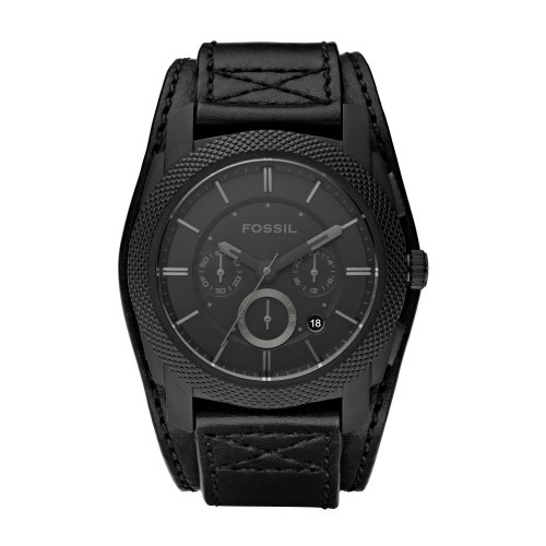 Fossil Men's All Black Machine Watch - Fs4617 With Leather Strap