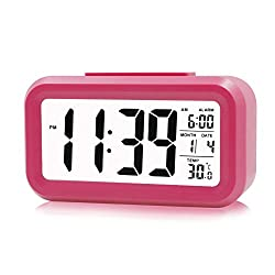ZHPUAT Large-Display Digital Alarm Clock with Optional Backlight, Gentle Progressive Wakeup Alarm, Month, Date, and Temperature Display (Pink)