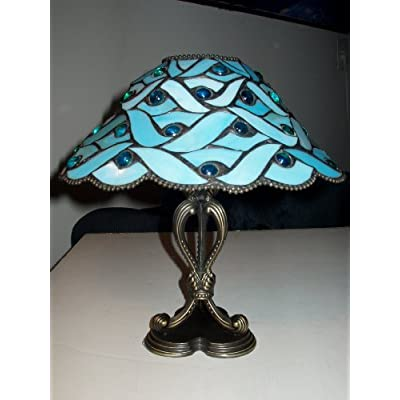 partylite spring water blue stained glass candle lamp tea light. Black Bedroom Furniture Sets. Home Design Ideas