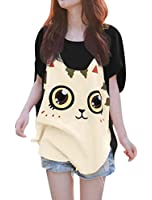 Allegra K Women Cat T Shirt Dolman Sleeve Tops Loose Fit Tops Summer Tops