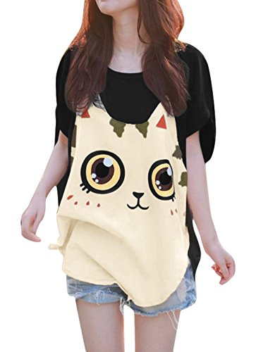 Allegra K Women Cat T Shirt Dolman Sleeve Loose Summer Tops Black XL