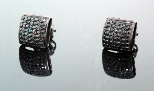 .925 Sterling Silver Black Square Black Onyx Crystal Micro Pave Unisex Mens Stud Earrings 9mm