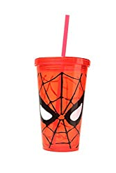 Silver Buffalo MC70087 Marvel Spiderman Eyes BPA-Free Plastic Cold Cup with Lid and Straw, 16 oz., Red