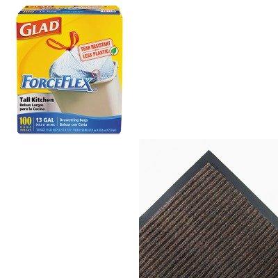 KITCOX70427CWNNR0046BR - Value Kit - Crown NR46 BRO Needle-Rib Indoor Wiper/Scraper Mat 4' x 6', Brown (CWNNR0046BR) and Glad ForceFlex Tall-Kitchen Drawstring Bags (COX70427)