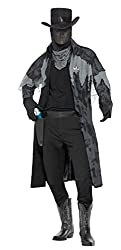 Smiffy's Men's Ghost Town Phantom Sheriff Costume with Jacket Hood Gloves Hat and Scarf, Black/Grey, Medium