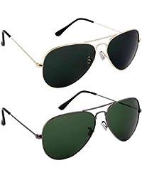 Sheomy Unisex Combo Pack Of Aviator Sunglasses For Men And Women - Mirrored Sunglasses ( Black Gold - Grey Green...