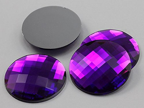 45mm Purple Amethyst H105 Flat Back Round Acrylic Gems High Quality Pro Grade Individually Wrapped - 4 Pieces (Flat Back Gem compare prices)