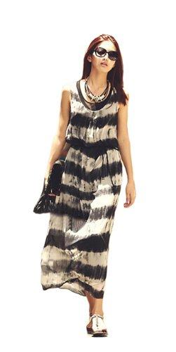 Fashion Chiffon Stripe Belted Bohemian Maxi Dress - Small/Medium - White