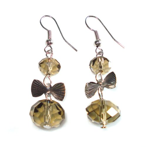Idin Drop Earrings - Brown Crystal Bead With Silver Tone Bow Dangle Earrings ...