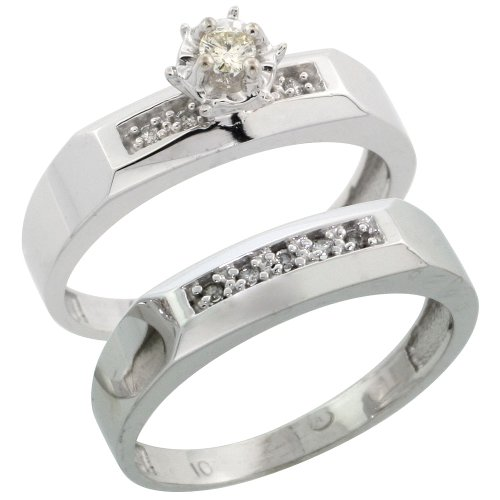Sterling Silver 2-Piece Diamond Engagement Ring Set, w/ 0.10 Carat Brilliant Cut Diamonds, 3/16 in. (4.5mm) wide, Size 10