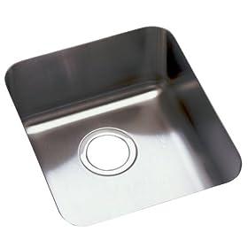 Elkay ELU1316 Gourmet Lustertone 15-Inch by 17-1/2-Inch Stainless Steel Single-Bowl Undermount Kitchen Sink, Lustertone Satin Finish