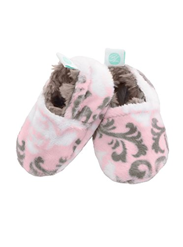 Baby Laundry Plush and Soft Reversible Booties, Slippers/Shoes for Girls - Damask Blush (3-6 Months)