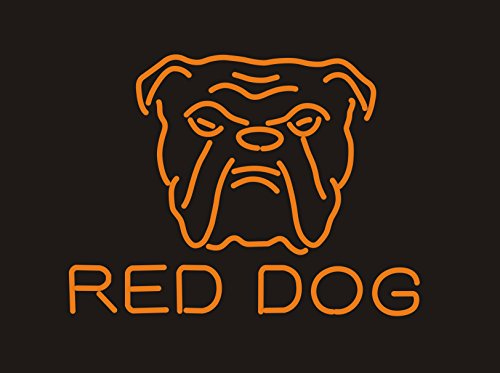 "New Red Dog Real Glass Neon Light Sign Home Beer Bar Pub Recreation Room Game Room Windows Garage Wall Sign 17w""x 14""h"