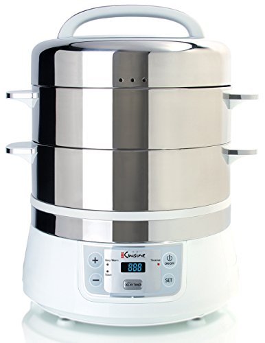 Euro Cuisine FS2500 Electric Food Steamer, White/Stainless Steel (Euro Cuisine Flavor compare prices)