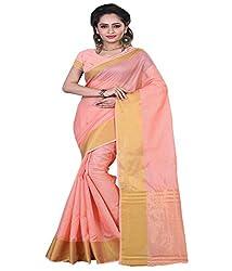 Sanju Fashionable Orange Color Cotton Silk Saree