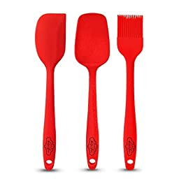 Bakeitfun 3-Piece Silicone Spatulas Set (Small) | Ergonomic, Non-Stick, Flexible, Easy Grip and Dishwasher Safe | Vibrant Red Color, No Sharp Edges - Safe for Kids | For Home and Professional Use