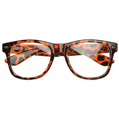 Standard Retro Clear Lens Nerd Geek Assorted Color Horn Rimmed Glasses (Tortoise Shell)