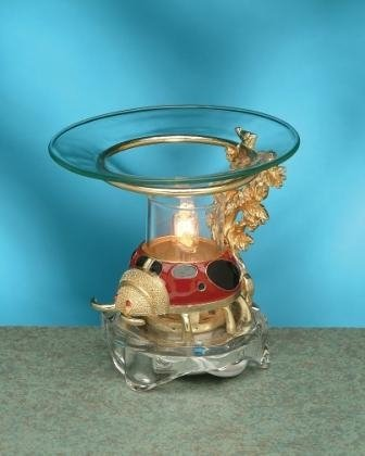 Decorative Red Pewter Ladybug Electric Oil Aromatherapy Burner