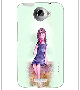 PrintDhaba Sweet Girl D-2925 Back Case Cover for HTC ONE X (Multi-Coloured)