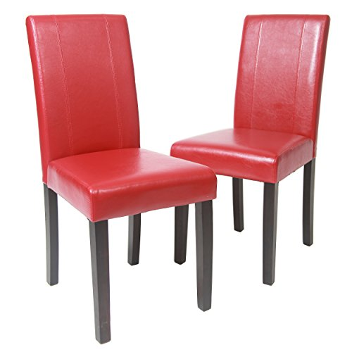 Roundhill Furniture Urban Style Solid Wood Leatherette Padded Parson Chair, Red, Set of 2