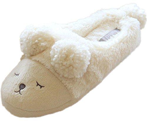 Minetom Donne Autunno E In Inverno Morbido Pantofole Del Fumetto Pecore Interno Antiscivolo Pantofola Bianco EU 36-37