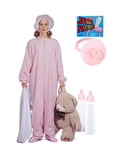 Adults Womens Giant Baby Girl Pink Onesie Pajamas Bottle And Pacifier Bundle