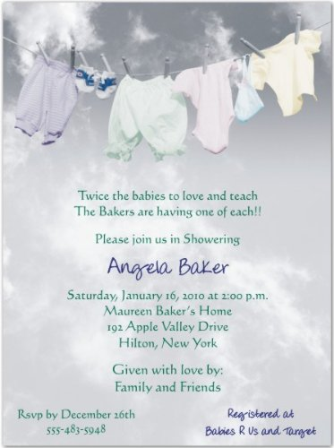 Clothesline Baby Shower Invitations - Set Of 20 front-1073609