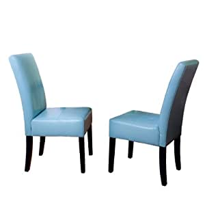 Stella Teal Blue Leather Dining Chair Set Of 2 Chairs