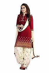 Labhde Women's Maroon Patiyala Salwar Suit Dress Material