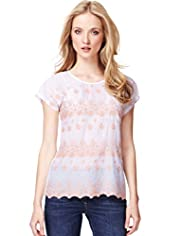 Indigo Collection Embroidered Striped Top