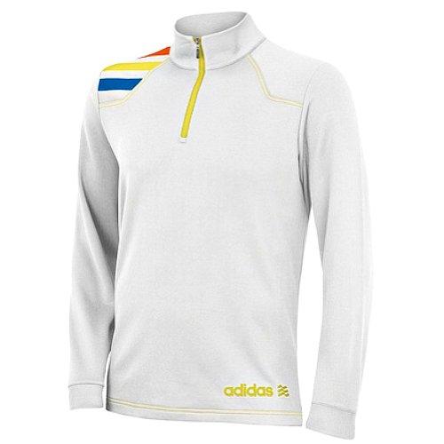 adidas Adidas 2013 Men's Fashion Performance 1/2 Zip 3-Stripes Pullover (White/Highlighter - XL)