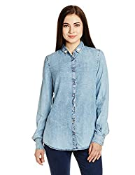 Gas Women's Button Down Shirt (85510WY65_Blue_Large)