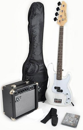Ursa 1 JR RN PK WT White Bass Guitar Package w/Amp Bag, Strap and Instructional DVD