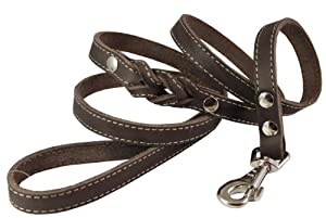"""6' Genuine Leather Braided Dog Leash Brown 3/4"""" Wide for Largest Breeds"""