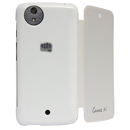 Premium Leather Flip Cover for Micromax Canvas A1 Android One Mobile - White