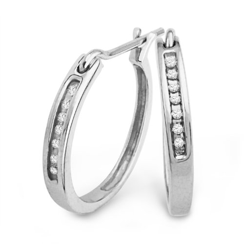 Sterling Silver Round Diamond Hoop Earring (1/20 cttw)