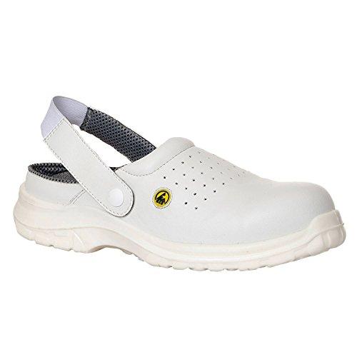 Portwest FC03WHR45 Sandalo di Sicurezza Traforato SB AE ESD in Composito, Bianco, 45