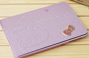 Pink Hello Kitty Cute Leather Case for Apple Ipad Mini Cute Hello Kitty Flip Case Cover Stand Angle View for Apple Ipad Mini