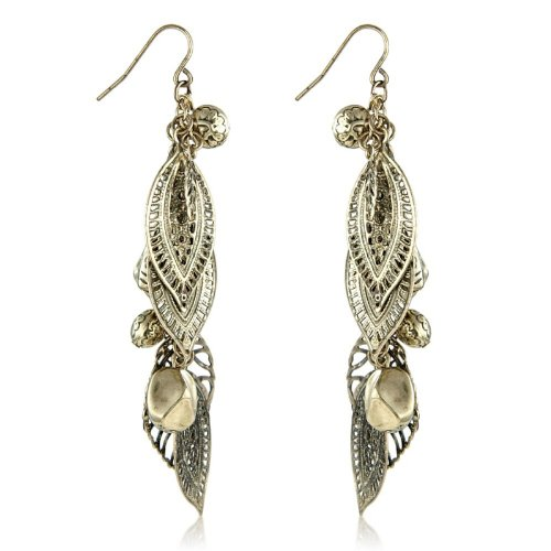 Gold Vintage Cluster Leaf Earrings - Matching