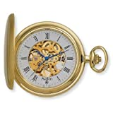 Avalon 17 Jewel Mechanical Skeleton Gold-tone Covered Pocket Watch with Chain, #4037G