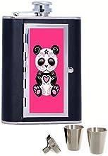Pink Zombie Sugar Panda Custom Personalized Printed 6oz Black Faux Leather Hip Flask