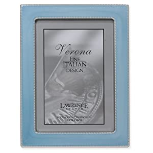 Lawrence Frames 5 by 7-Inch Silver Metal Picture Frame with Pastel Swirled Blue Enamel and Bead Border