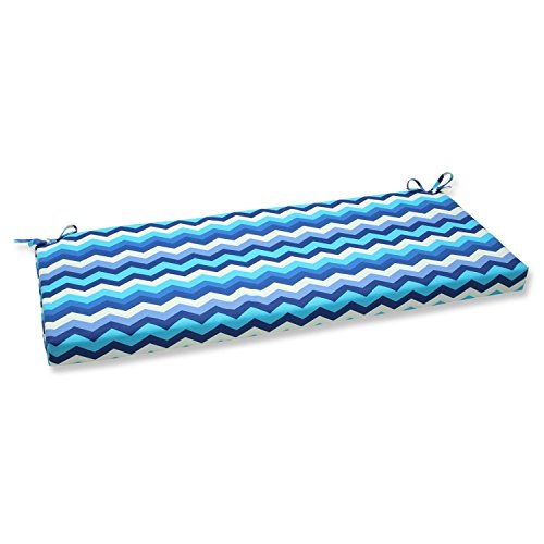 """45"""" Rayas Azules Blue, Navy and White Chevron Striped Outdoor Patio Bench Cushion"""