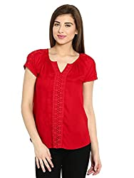 Ladybug Womens Short Sleeve Top With Lace Inserts - Red